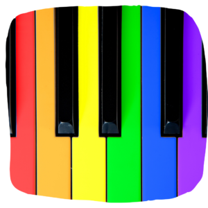 Bild von bunten Klaviertasten