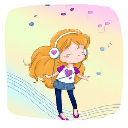 Illustration - Mädchen hört Musik