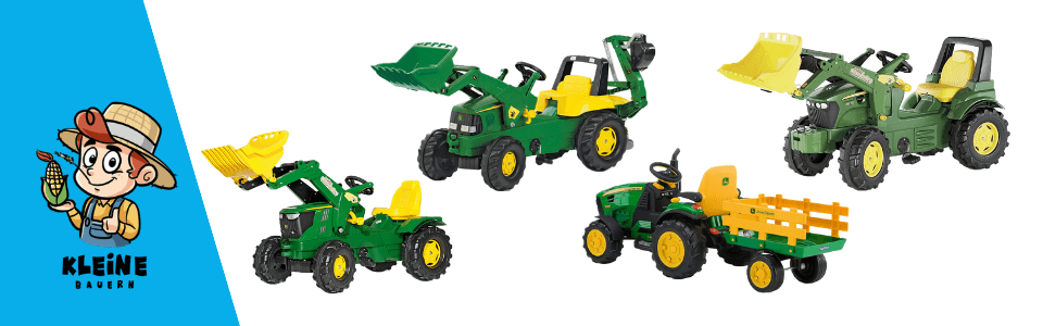 Kollage mit John Deere Kindertraktoren